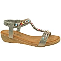 Cipriata L072FS-5 Pewter Jewelled Sling Back Sandal