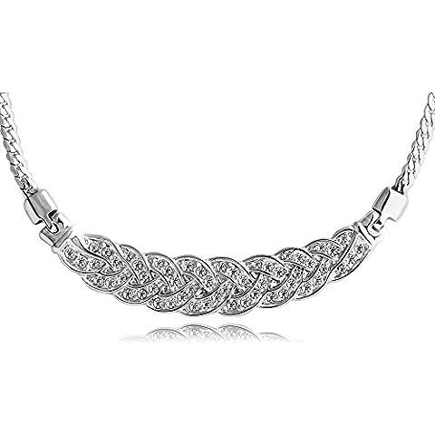 T400Jewelers chapados en oro–elementos de Swarovski Crystal trigo forma gargantilla collar 15