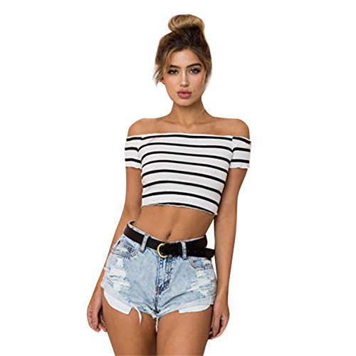 Lange Thermal Knit Henley (BURFLY Damen Streifen Weste Frauen Schulterfrei Kurzarm Bluse Kleidung Sommer Tops T-Shirt Mini Gestreifte Slash Hals T-Shirt (M, Weiß))