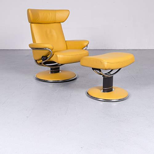 Stressless Jazz Designer Leder Sessel Gelb Echtleder Stuhl Hocker Relax #6594