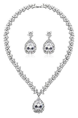 Gnzoe Placcato argento Donna Gioielli Maple A goccia Cuore CZ Diamante(Laboratorio creato) Bib Collane