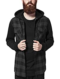 Urban Classics Hooded Checked Flanell Sweat Sleeve Shirt, Chemise de Loisirs Homme