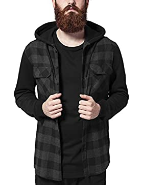 Urban Classics Herren Freizeithemd Hooded Checked Flanell Sweat Sleeve Shirt