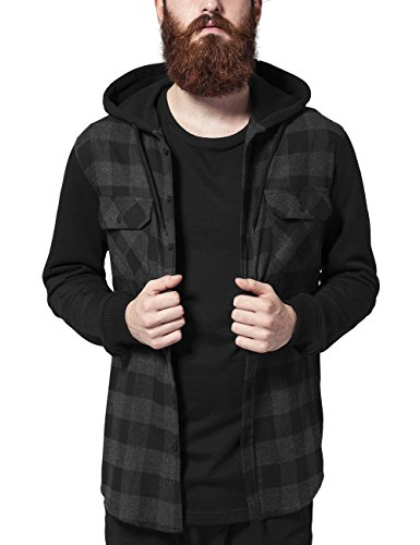 Urban classics hooded checked flanell sweat sleeve shirt, camicia uomo, mehrfarbig (blk/cha/bl 690), large
