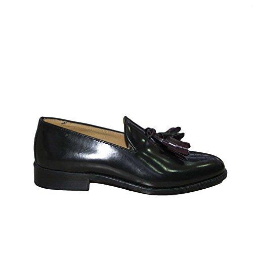 Mocassino College nera pelle lucida abrasivata nappe fondo cuoio antiscivolo nero genuine leather made in italy linea man glamour (40)