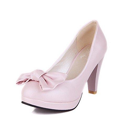 Voguezone009 Senhoras Puxar Bico Redondo De Couro Pu Bombas De Salto Alto Sapatos Puros Com Rosa Arco