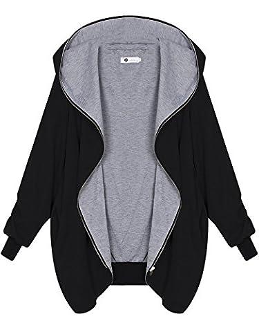 Zarlena Damen Full Zipper Jacke Hoodie Oversize Parka Kapuzenjacke Schwarz XL
