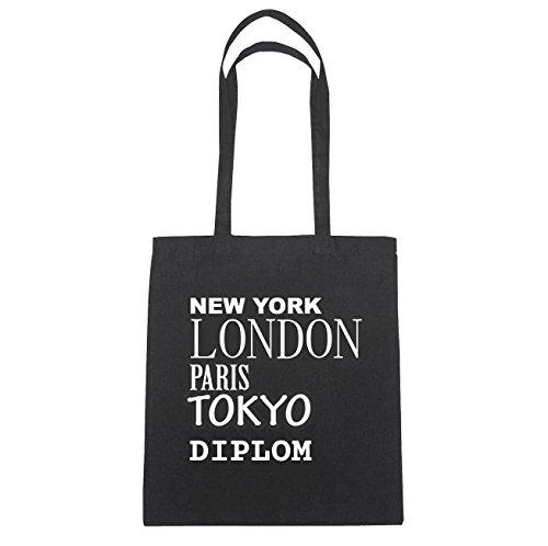 JOllify Diploma Borsa di cotone b6099 schwarz: New York, London, Paris, Tokyo schwarz: New York, London, Paris, Tokyo