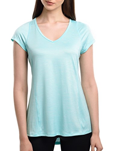 SPECIAL MAGIC Women Athletic V Neck Loose Fit Sports Top Short Sleeve Tee T-Shirt Light Blue Large