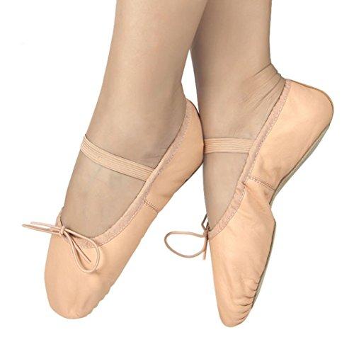 FEITONG Zapatos de Danza de Ballet de Cuero Rosa Zapatillas Niñas niñas Full Sole Tallas Zapatos 21-37 (33, Rosa)
