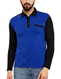 Hypernation Royal Blue And Black Color Cotton Polo T-shirt For Men