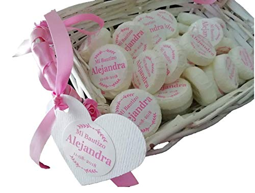 Cesto rosa con 50 jaboncitos personalizados para Bautizo o Comunión