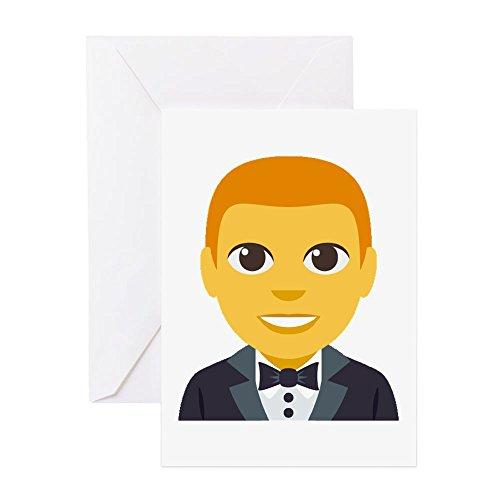 CafePress–man-in-tuxedo Emoji-Grußkarten–Grußkarte, Note Karte, Geburtstagskarte, innen blanko, glänzend (Edge-tuxedo)