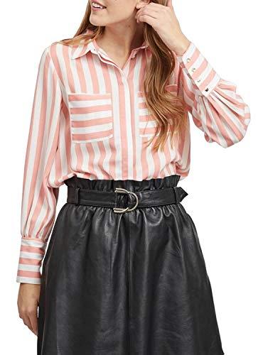 Vila Clothes Damen Bluse VISTRIBELLO L/S Shirt, Mehrfarbig (Brandied Apricot Cloud Dancer Stripe), (Herstellergröße: 34)