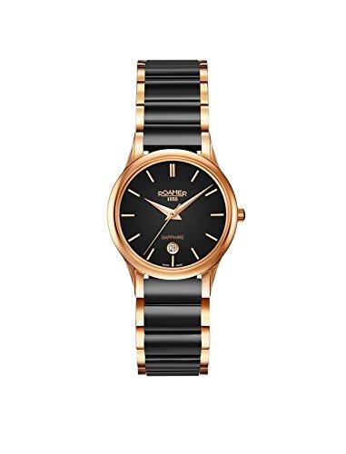 Roamer Damen Datum klassisch Quarz Uhr mit Keramik Armband 657844 49 55 60