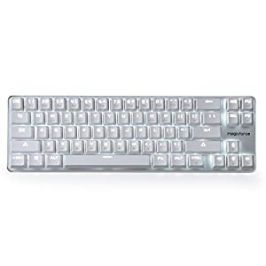 Qisan® Gaming Keyboard Mechanical Backlit Wired Mechanical Keyboard Cherry MX Brown Switch 68-Keys Mini Design (60%) Cable White