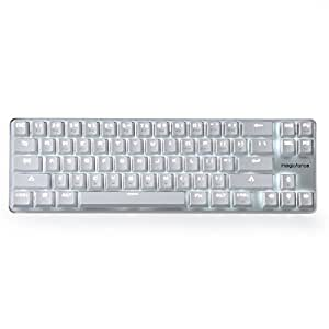 Gaming Keyboard Mechanical Backlit Wired Mechanical Keyboard Cherry MX Brown Switch 68-Keys Mini Design (60%) Cable White by Qisan