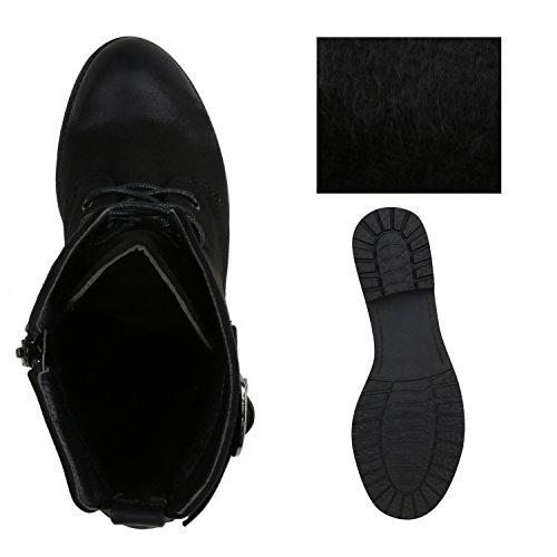 Damen Schnürstiefeletten Profilsohle Lederoptik Stiefeletten Schwarz Schnallen