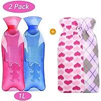 Yokunat 2 Packs Premium Gummi-Wärmflasche mit Niedlichem Einhornbezug und Weichem Fleece-Bezug preisvergleich bei billige-tabletten.eu