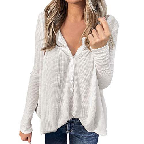 DOFENG Damen T Shirt Bluse Sweatshirt Damen Lange Ärmel Mode Locker Taste Volltonfarbe Lässig O Hals Pullover Oberteil Tops (Weiß, XX-Large)