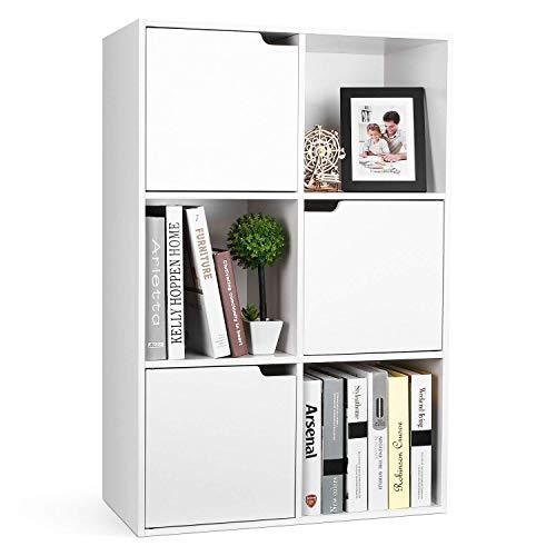 Homfa mensola libreria in legno con cubi e ante mobile portaoggetti scaffale cubo porta libri cd bianca (6 cubi 3 ante)