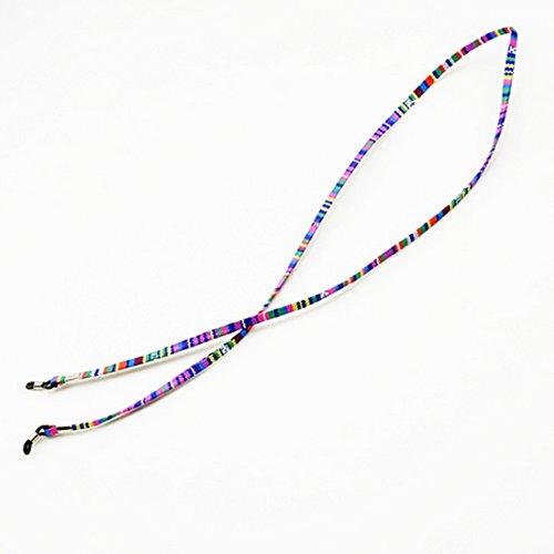 NoyoKere Praktische Brillen Sonnenbrille Baumwolle Hals String Cord Retainer Strap Brillen Lanyard Halter mit Silikon Schleife lila