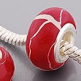 Endearing Charms versilbert rot Fimo Charm für Pandora/Troll Charm-Armbänder Halsketten