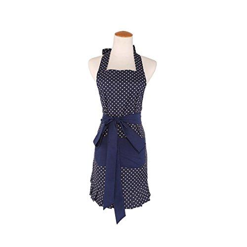 Baumwolle Stoff Frauen 'S KITCHEN Schürze mit 2pockets-extra Lange Bänder, Graceful und flirty, dunkelblau style-leeotia (dunkelblau) -