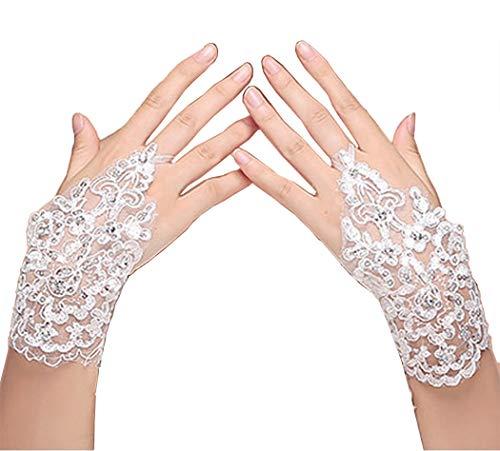EastBride Damen-Handschuhe, Spitze, Kristalle, fingerlos, für Hochzeit, Party, Weiß - Elfenbein - Einheitsgröße (Elfenbein Spitzen Handschuhe)