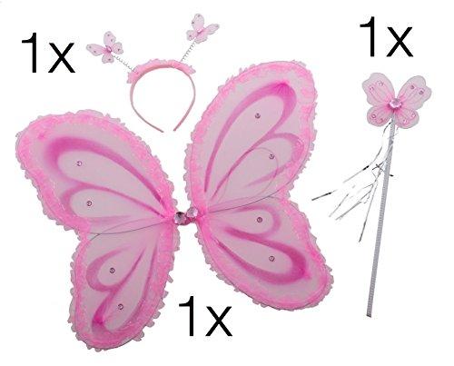 Fee Kostüm Kostüm Prinzessin für Mädchen Feenflügel Eisprinzessin Diadem ZauberstabStirnband Schmetterling Flügel Flügel Umhang mit Stab Zauberstab und Kopf an Fasching und Karneval (Butterfly Set pink)