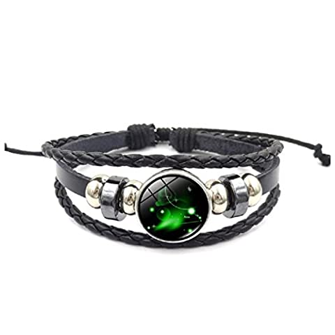 Axibi Mode Femme Hommes Strass 12 Constellations Bracelet en cuir perlé tissé Pendentif Bijoux Cadeaux (Aries)