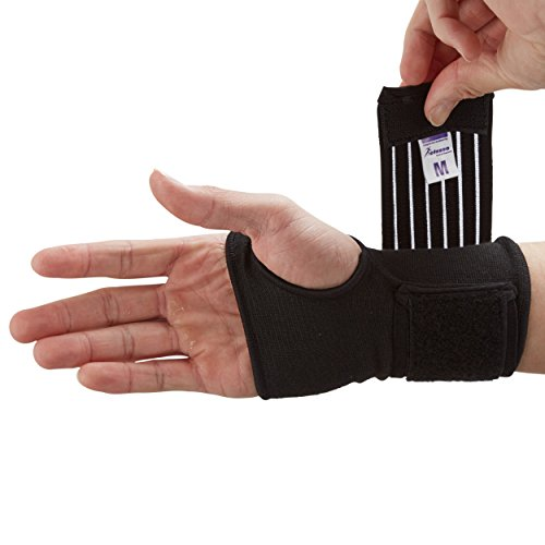 Actesso Handgelenkbandage Handbandage - Ideal für verstauchungen beim sport und sehnenscheidenentzündung - handgelenk stützung ohne verlust der bewegungs (Groß Schwarz)