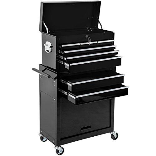 TecTake Chariot d'atelier servante à outils | caisse à outils amovible | -diverses couleurs au choix- (Noir | Nr. 402803)