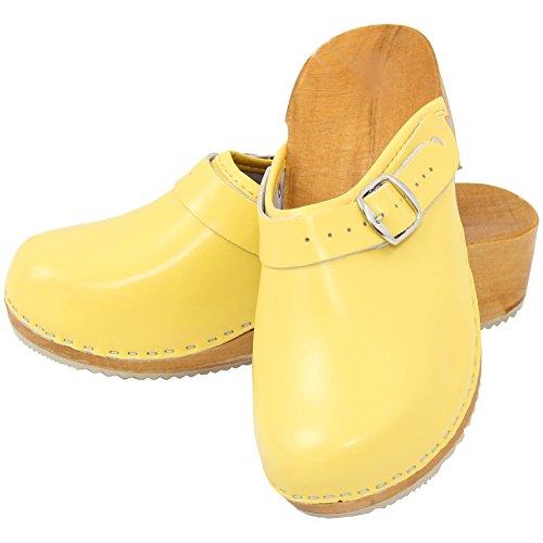Holzschuhe Clogs Pantoletten Holzclogs Sandalette Orthopädisch Leder Holz Schuhe Gr. 36-41 NEU Gelb