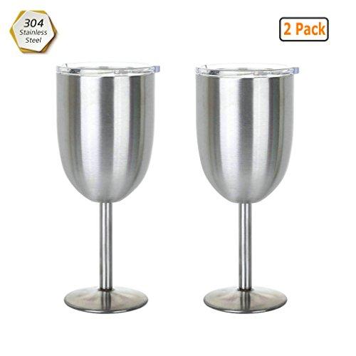 GuDoQi 2 Stück 304 Edelstahl Weingläser mit Deckel Doppelwandige Isolierung Sektglas