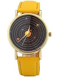 yanana Moda Dise?o del Planeta Reloj Pulsera de Cuarzo Redonda de Cuero en Forma