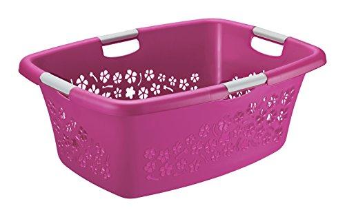 Wäschekorb 'Flowers' Rotho Kunststoff/Plastik (PP) pink/weiss Gr. L, Inhalt ca. 50 Liter (LxBxH) ca. 65 x 48.6 x 26.2 cm Moderner...