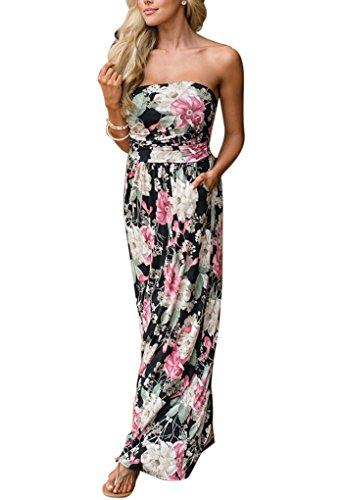 Donna Vestiti Floreali Vestito Senza Spalline Estivo Casual Abito Lungo Elegante Cerimonia Sera Cocktail Bohemian Abiti da spiaggia – Lanodve nero & rosso