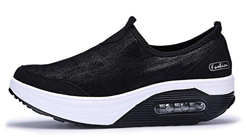 NEWZCERS Nuovo casuali dello slip ammortizzazione aria moda su scarpe da passeggio per le donne Nero