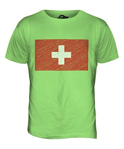 CandyMix Schweiz Kritzelte Flagge Herren T Shirt Limettengrün