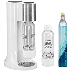 Levivo water carbonator set/carbonated water set incl. 2 carbonator bottles and CO2 cylinder, soda maker for carbonated tap water at the push of a button, carbonation level individually adjustable
