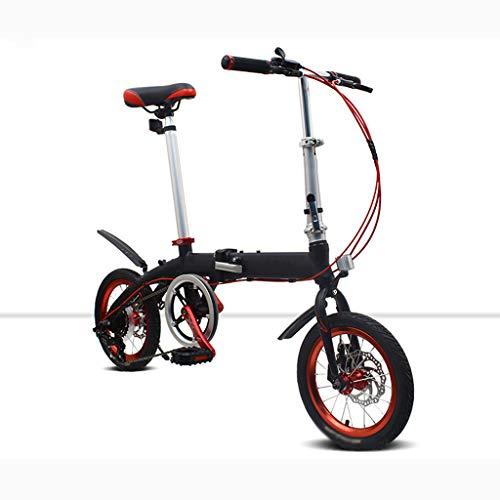 AB folding bike Bicicletta Pieghevole in Lega Leggera in Lega di Alluminio Ultra Leggera Portatile Mini Studente Uomo e Donna Scooter 34cm Ruota - Nero