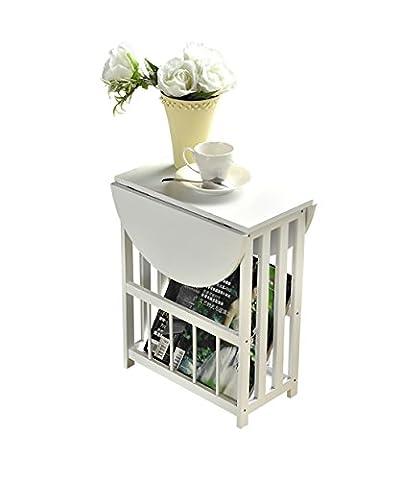 table basse table de salon Étagères simple moderne salon balcon canapé côté comptoir de chevet petite table basse table pliante blanc et noir ( Couleur : Blanc , taille : 56.5*49cm )