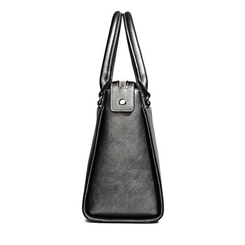 8764294b32b34 ... Kadell PU Leder Frauen Handtaschen für Damen Luxus Top Griff Schulter  Geldbörse Nickel schwarz Nickel schwarz ...