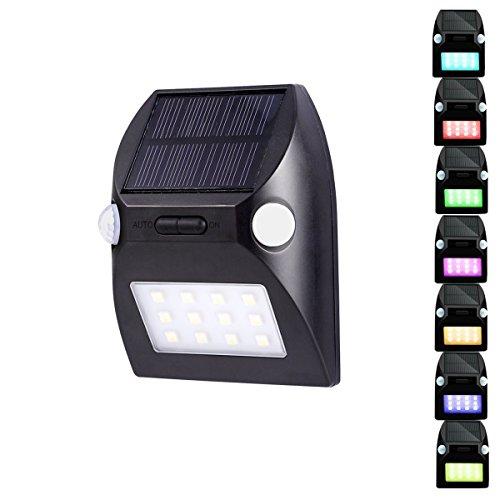 Lemonda Solar Wandleuchte mit Dual PIR Motion Sensoren mit 5 Beleuchtungsmodi und RGB Farbwechsel - (Besten Kostüme Zwei Mann Am)