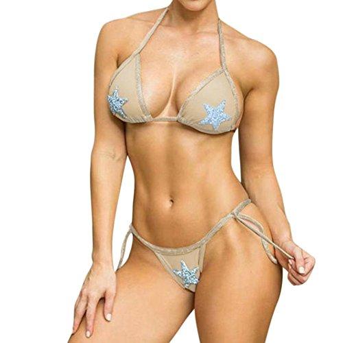 Damen Sexy Brasilianischen Stil Bandage Bikini Set, Zweiteilig Badeanzug Push Up Bandeau Neckholder Strandkleider Bademode Elegante Pailletten Beachwear Swimsuit (S, Beige) (Stil Badeanzug)