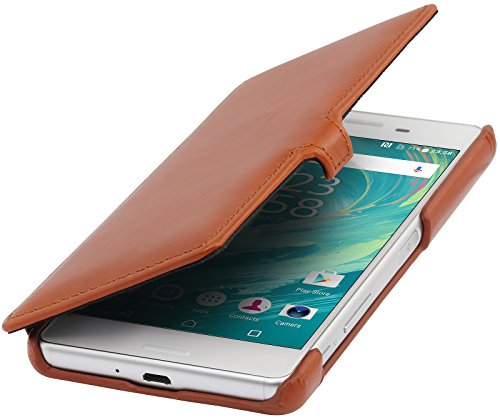 StilGut Book Type Case mit Clip, Hülle Leder-Tasche für Sony Xperia X Performance. Seitlich klappbares Flip-Case aus Echtleder, Cognac