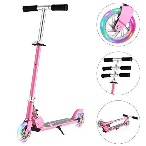 Hikole Scooter Kinder Roller Kickscooter Faltbar Kickroller Tretroller für Kinder Jungen Mädchen ab 3-12 Jahre bis 200Lbs Mit Verstellbare Höhe und Blinkenden Rädern (Typ2 Rosa^^)