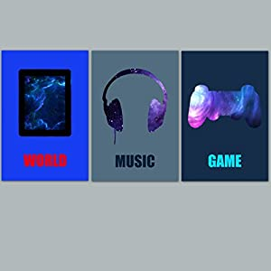 3 Junge Plakate Teenager, Geek, (Teenager), Knaben-Deko, Musik, Game, Teenager-Geschenk.