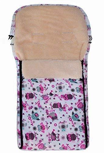 Baby-Joy Fußsack KAI XL105cm Lammwolle Winterfußsack Optional mit WUNSCHNAME: Farbe: 43 Weiß Pink Eule